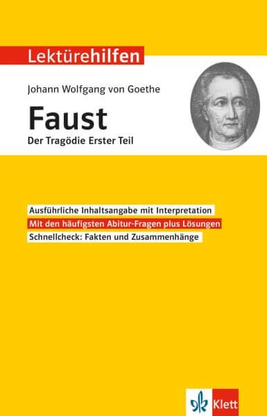 Klett Lektürehilfen Johann Wolfgang Goethe, Faust Der Tragödie Erster Teil