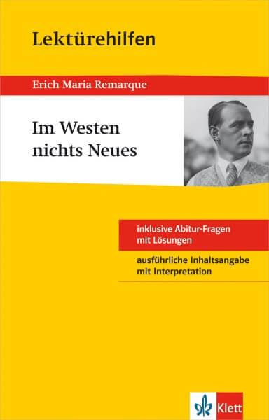 Klett Lektürehilfen Erich Maria Remarque, Im Westen nichts Neues