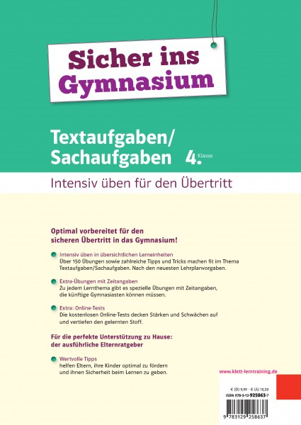 Klett Sicher ins Gymnasium Textaufgaben/Sachaufgaben 4. Klasse